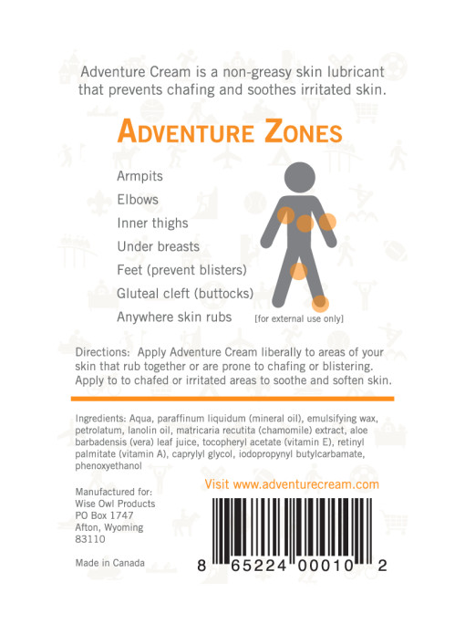 adventureCream, anti-chafing, cream, chafing, adventure, product, label